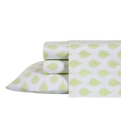 4-Piece Green Antimicrobial Cotton Blend Queen Bedding Sheet Set Paisley