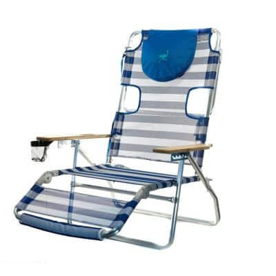3-in-1 Lightweight Striped Aluminum 5-Position Reclining Beach Chair