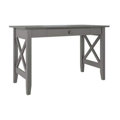 48 in. Rectangular Gray 1 Drawer Writing Desk with Solid Wood Material