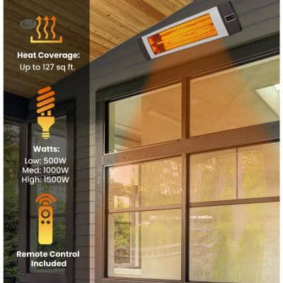 34.6 in. 1500-Watt Electric Carbon Infrared Heat Lamp with Remote Control