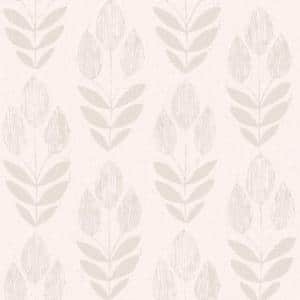 Scandinavian Grey Block Print Tulip Strippable Roll Wallpaper (Covers 56 sq. ft.)