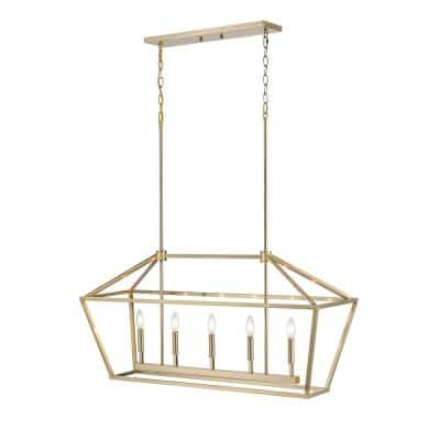 12 in. 5-Light Modern Gold Chandelier