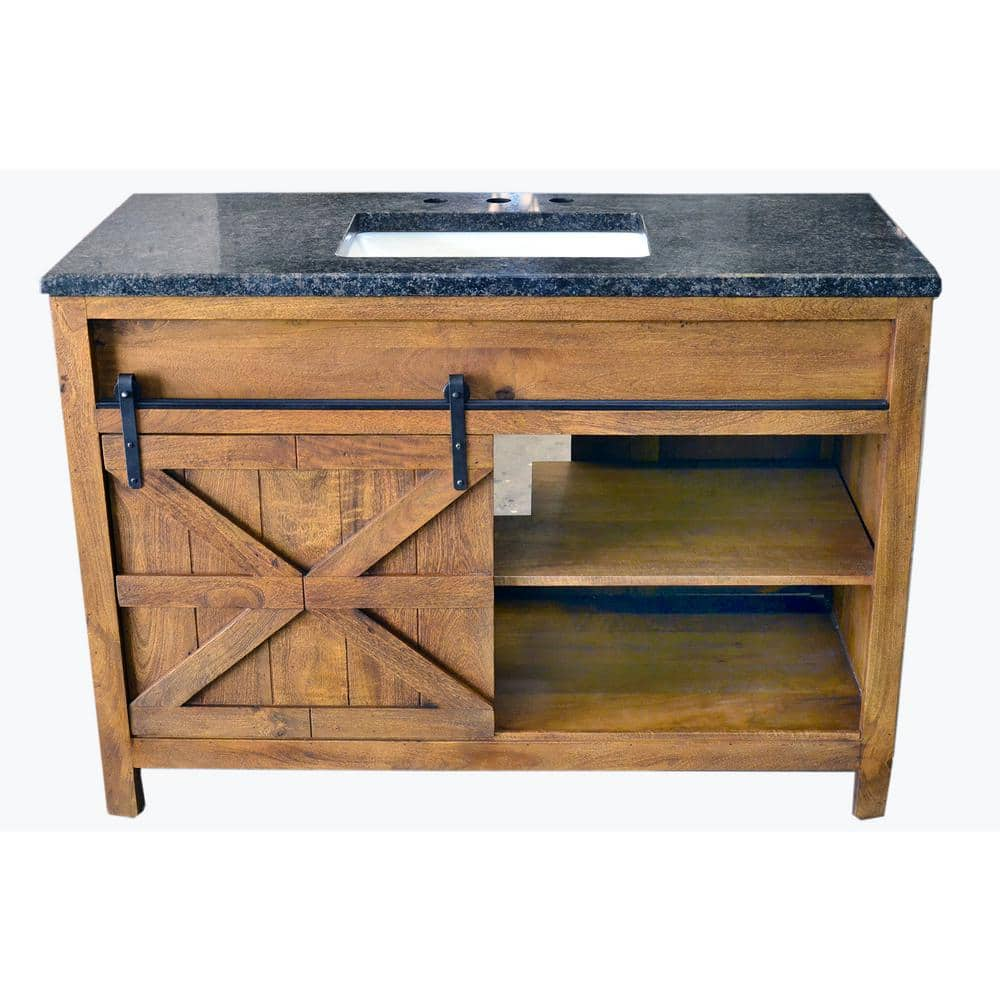 Traditional 48 In Wide Single Barn Door Vanity In Antique Finish Bv2148f The Home Depot