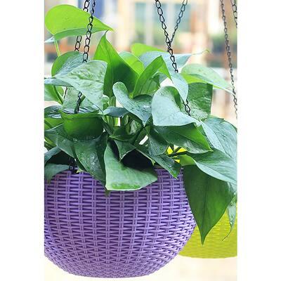 Self Watering 13.40 in. Purple Hanging Rattan Planter