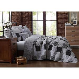 Evangeline 4-Piece Grey Twin Quilt Set