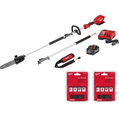 M18 FUEL 10 in. 18-Volt Lithium-Ion Brushless Cordless Pole Saw Kit with 8.0 Ah Battery and (2)10 in. Saw Chain
