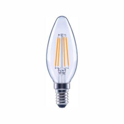 60-Watt Equivalent B11 Candle Dimmable Clear Glass Filament Vintage LED Light Bulb Daylight (48-Pack)