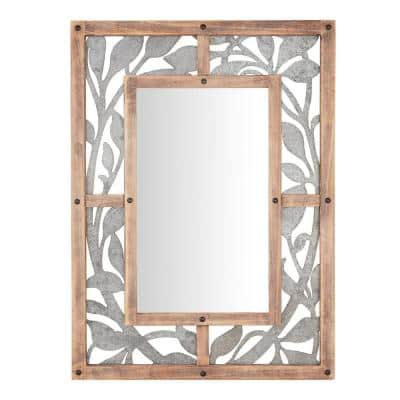 Medium Rectangle Wood & Metal Antiqued Farmhouse Accent Mirror (39 in. H x 29 in. W)