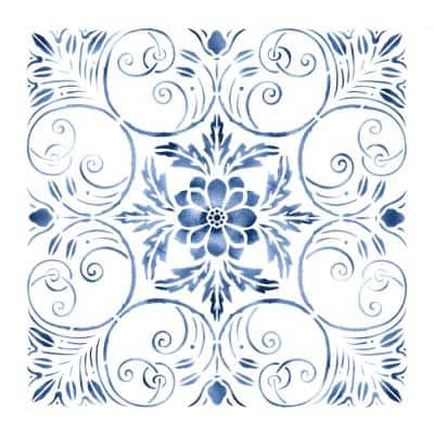 Stylized Tile Wall Stencil