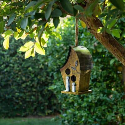 12 in. Tall Outdoor Hanging Wood and Metal Birdhouse, Yellow