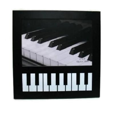 6 in. x 4 in. Piano Keyboard Picture Frame Black and White Color