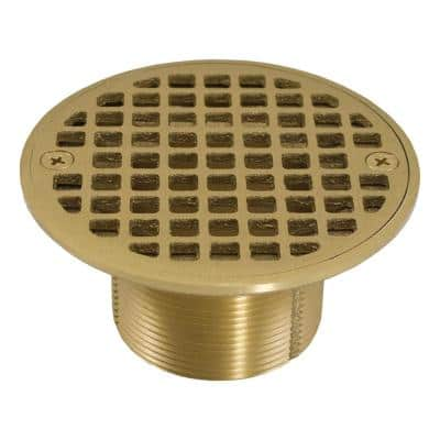 2 in. Brass Spud with 4 in. Dia Round Cast Strainer in Polished Brass