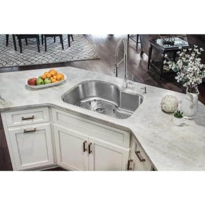 Undermount 18-Gauge Stainless Steel 32 in. 0-Hole Euro Style Single Bowl Kitchen Sink with Grid and Drain Assembly