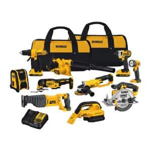 20-Volt Max Cordless Combo Kit (10-Tool) with (2) 20-Volt 2.0Ah Batteries, Charger & Bag
