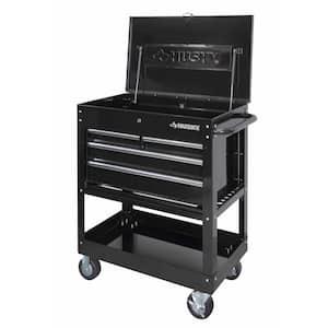 33 in. W 4-Drawer Mechanics Tool Utility Cart in Gloss Black