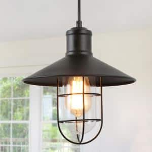 Pendant Lighting 1-Light Black Mini Pendant with Modern Industrial Metal Wire Cage Shade Barn Ceiling Pendant Light