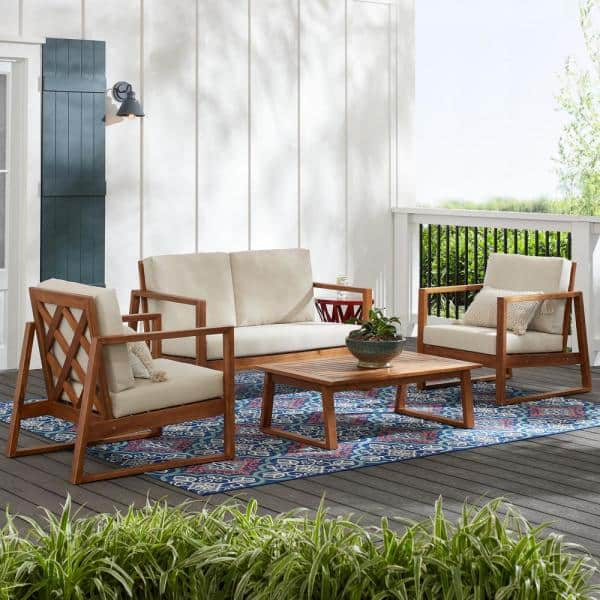 Hampton Bay Willow Glen Farmhouse 4-Piece Wood Outdoor Patio Conversation Seating Set with Teak Finish and Beige Cushion