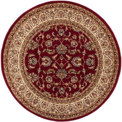 Barclay Sarouk Oriental Traditional Red 3 ft. 11 in. x 3 ft. 11 in. Round Area Rug