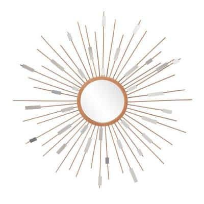 Medium Round Painted Gold Finish Contemporary Mirror (36 in. H x 36 in. W)
