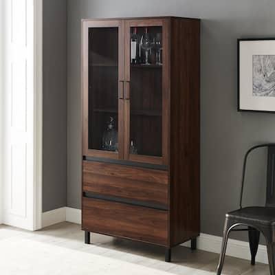 """68"""" Glass Door Storage Hutch - Dark Walnut"""