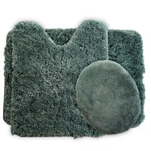 Green 24 in. x 19.5 in. Polyester 3-Piece Bath Mat Set