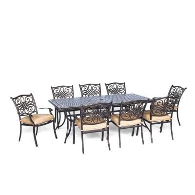 Seasons 9-Piece Aluminum Outdoor Dining Set with Tan Cushions