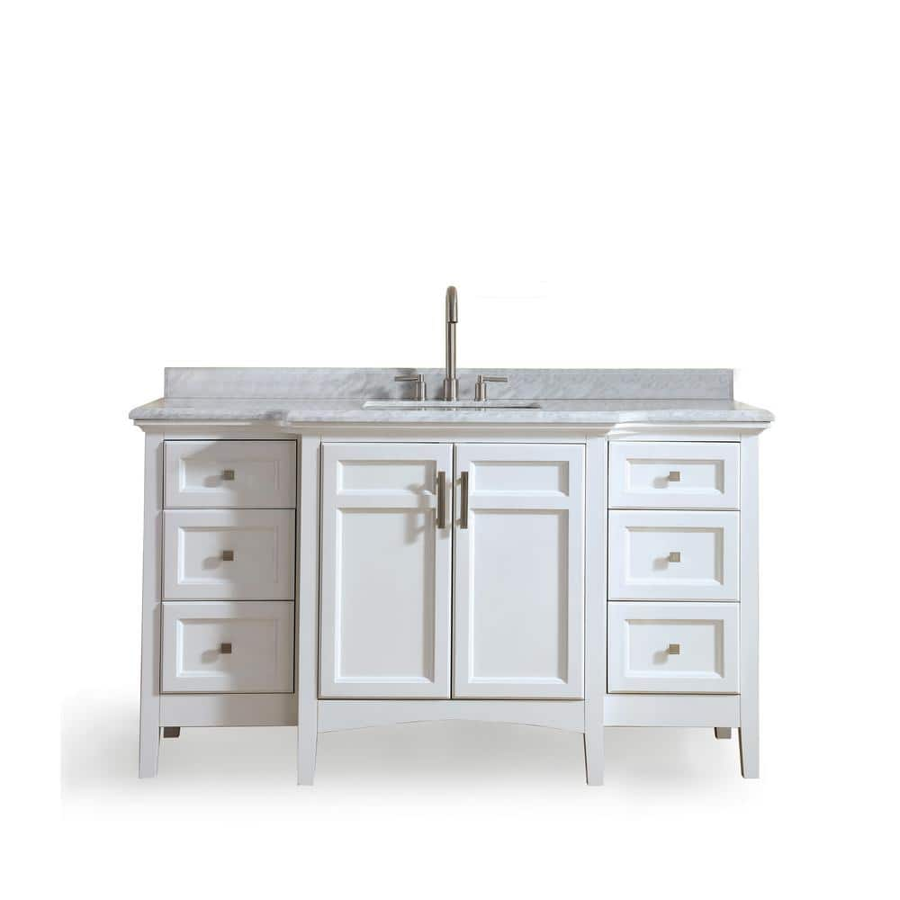 Ari Kitchen And Bath Luz 60 In Single Bath Vanity In White With Marble Vanity Top In Carrara White With White Basin Akb Luz 60 Wht The Home Depot