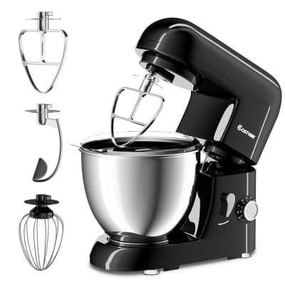 550W 4.3 qt. . 6-Speed Black Stainless Steel Stand Mixer with Tilt-Head
