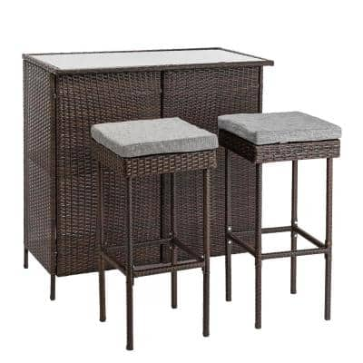 Brown 3-Piece Wicker Outdoor Serving Bar Set with Grey Seat Cushions