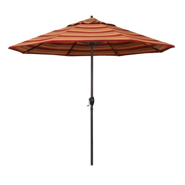 California Umbrella 9 Ft Bronze Aluminum Market Auto Tilt Crank Lift Patio Umbrella In Astoria Sunset Sunbrella Ata908117 56095 The Home Depot