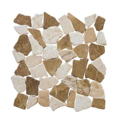 Lakeshore Pebble Cream 11.125 in. x 11.125 in. Honed Marble Wall and Floor Mosaic Tile (0.859 sq. ft./Each)