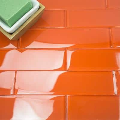Contempo Orange 2 in. x 8 in. x 8mm Polished Glass Floor and Wall Tile (36 pieces 4 sq.ft./Box)