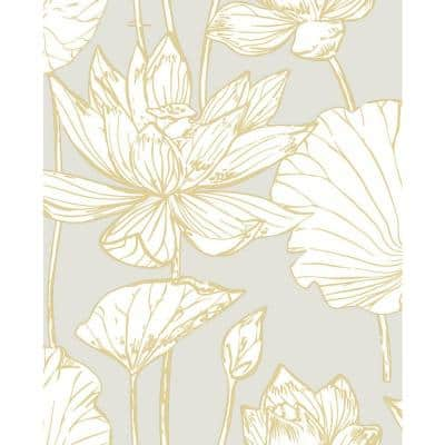 Lotus Metallic Gold And Grey Floral Vinyl Peel & Stick Wallpaper Roll (Covers 30.75 Sq. Ft.)