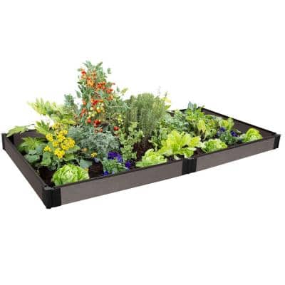One Inch Series 4 ft. x 8 ft. x 5.5 in. Weathered Wood Composite Raised Garden Bed