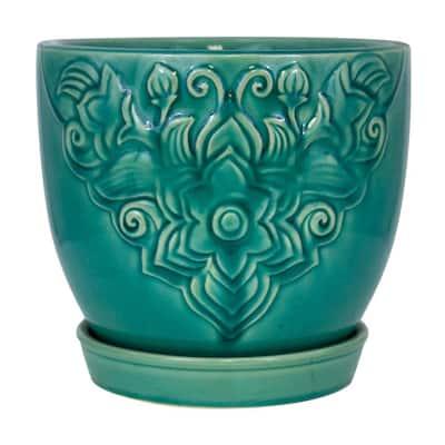 8 in. Teal Florelle Kurv Ceramic Planter