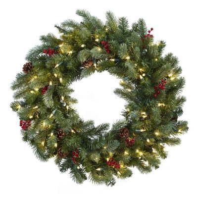 30 in. Lighted Pine Artificial Wreath with Berries and Pine Cones