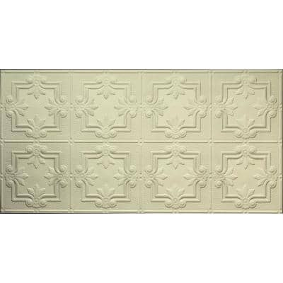 Dimensions 2 ft. x 4 ft. Glue Up Tin Ceiling Tile in Creme