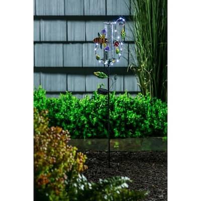 Bee 36 in. Twinkling Light Solar Rain Gauge Garden Stake