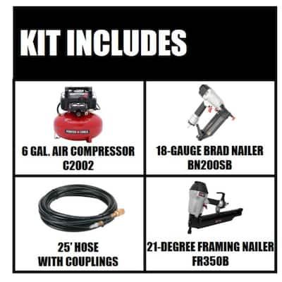 6 gal. 150 PSI Portable Electric Air Compressor and 18-Gauge Brad Nailer Combo Kit (1-Tool) with Bonus Framing Nailer