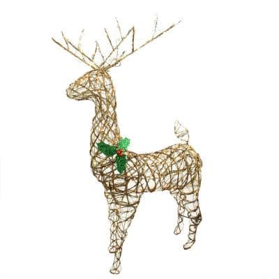 57 in. Christmas Lighted Standing Grapevine Reindeer Outdoor Decoration and Clear Lights