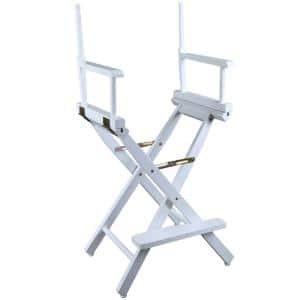 30 in. Director's Chair White Solid Wood Frame