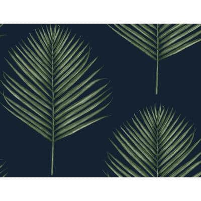 Luxe Haven Midnight Blue and Paradise Green Maui Palm Peel and Stick Wallpaper (Covers 40.5 sq. ft.)