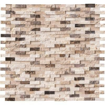 Emperador Blend Split Face 12 in. x 12 in. x 10 mm Textured Marble Mosaic Tile (10 sq. ft. / case)