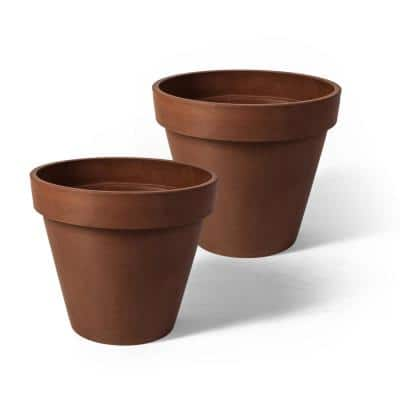 Valencia 10 in. x 8 in. Round TerraCotta Banded Plastic Planter (2-Pack)