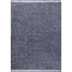 Mercer Shag Plush Tassel Denim Blue 8 ft. x 10 ft. Area Rug