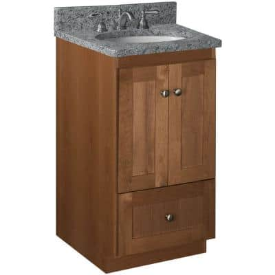 Shaker 18 in. W x 21 in. D x 34.5 in. H Simplicity Vanity with No Side Drawers in Medium Alder