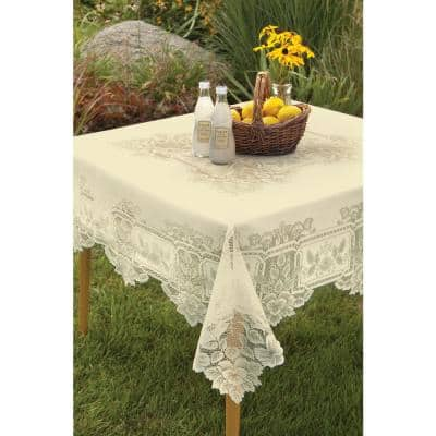 Heirloom Square ECRU Polyester Tablecloth