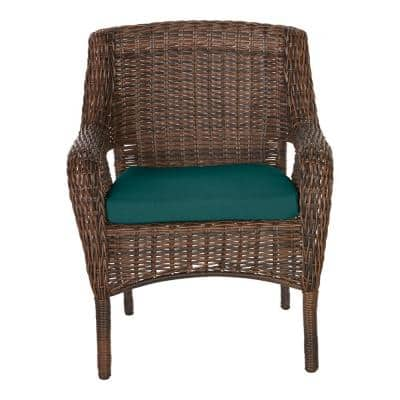 Cambridge Brown Wicker Outdoor Patio Dining Chair with CushionGuard Malachite Green Cushions (2-Pack)