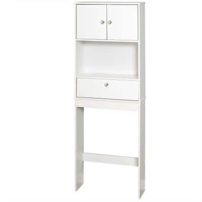 23 in. W x 64.5 in. H x 7.38 in. D White Over-the-Toilet Storage
