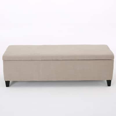 Glouser Sand Fabric Storage Bench